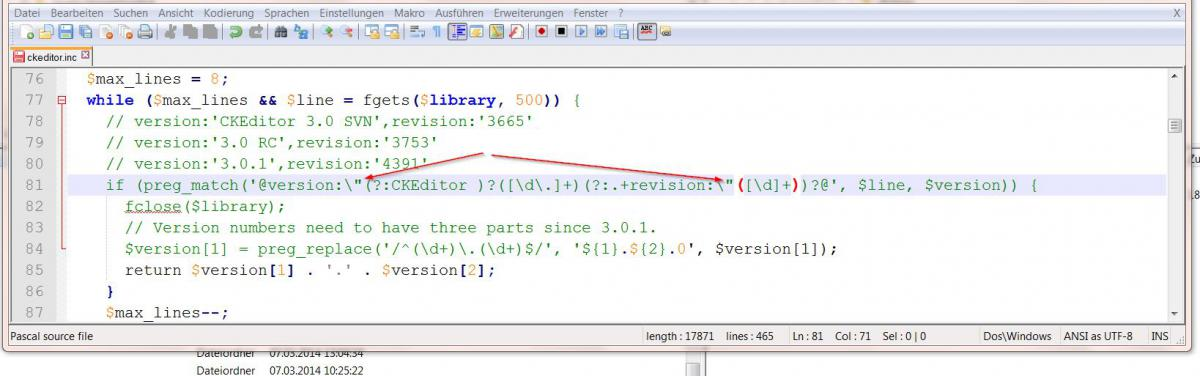 Screenshot der Code-Zeile im Notepad ++